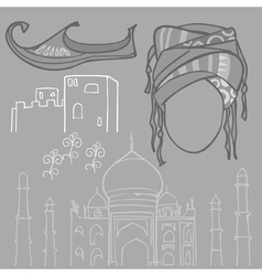 Oriental pattern shoes head tower building vector