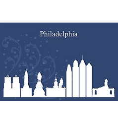 Philadelphia city skyline on blue background vector image