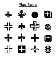 Plus positive cross add icon set vector