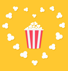 popcorn popping in heart frame red yellow strip vector image