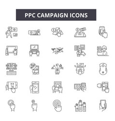 ppc campaign line icons signs set vector image