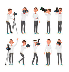 Professional photographer male in vector