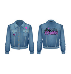 Punk power denim jeans jacket vector