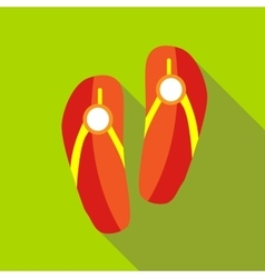 Red beach slippers icon flat style vector image