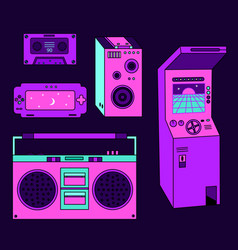 retro set 80s on dark background vector image