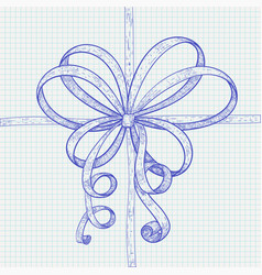 ribbon bow blue hand drawn sketch on lined paper vector image