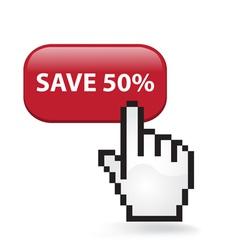 Save 50 Button vector