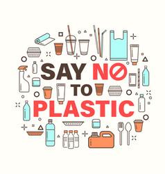 Say no to plastic environmental problem concept vector
