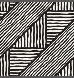 Seamless geometric lines pattern in black and vector