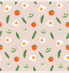 Seamless pattern with hand drawn healthy food vector