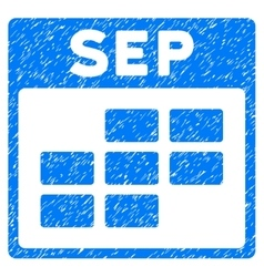 September Calendar Grid Grainy Texture Icon vector