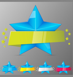 set blue stars with ribbons collection vector image