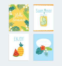 set hand drawn summer journaling cards vector image