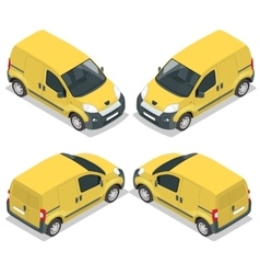 Set of icons small truck for transportation cargo vector