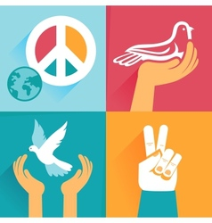 Set of peace signs and symbols vector