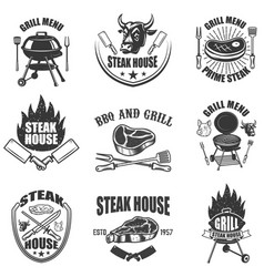 Set of steak house labels bbq and grill design vector