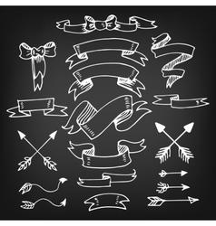 Set of Vintage Hand-Sketched ElementsBanners vector image