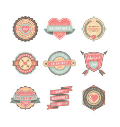 Set valentines day badges and stickers vector
