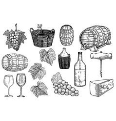 set winery design elements design element vector image