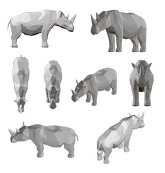 set with polygonal rhino in different positions vector image
