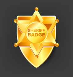 sheriff badge golden star western style vector image