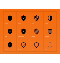 Shield icons on orange background vector image