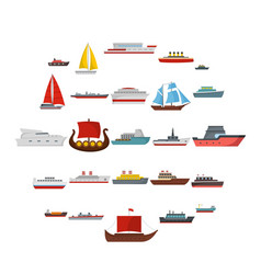 Ship and boats icons set flat style vector