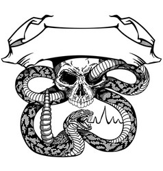 Skull and snake with ribbon black and white vector