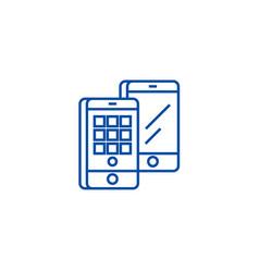 smartphones isometric line icon concept vector image