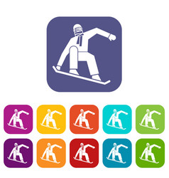 snowboarder icons set vector image