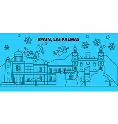 Spain las palmas winter holidays skyline merry vector