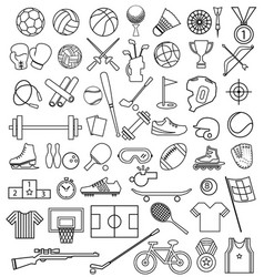 Sport equipment outline icon set vector