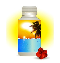 Summer holidays in a bottle background vector image
