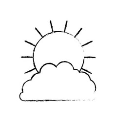 sun and cloud in monochrome blurred silhouette vector image