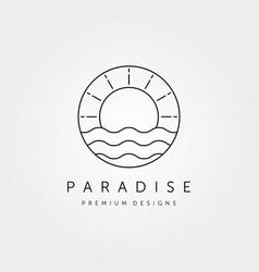 sunset wave logo symbol design vector image