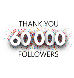 Thank you 60000 followers poster with colorful vector