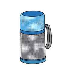 Thermo flask bottle beverage handle object vector