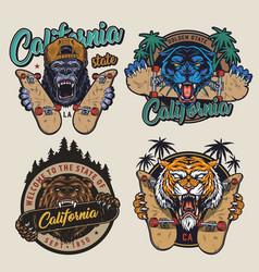 Vintage skateboarding colorful logotypes vector