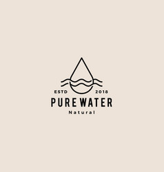 Water drop logo icon hipster retro vintage line vector