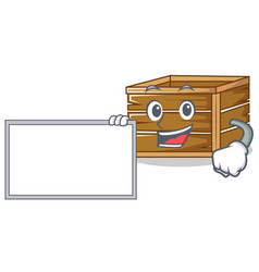 With board crate character cartoon style vector