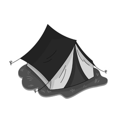 Yellow tent icon in monochrome style isolated on vector