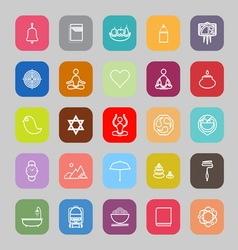 Zen society line flat icons vector