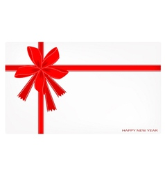 A New Year Card with Red Ribbon vector image vector image