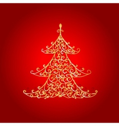 Christmas tree golden ornament vector image vector image