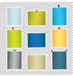 colorful frames for pictures with pins set vector image