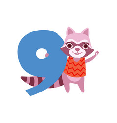 funny cute raccoon animal and number nine vector image
