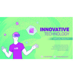 futuristic virtual reality banner vector image vector image