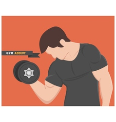 gym addict fitness muscular man wear black vector image