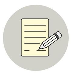 paper and pencil icon signature symbol vector image