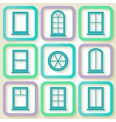 Set of 9 retro icons of windows vector image vector image